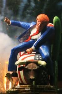 Waterloo Bonfire Society's Donald Trump tableau goes up in smoke
