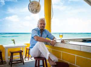 Sir Richard at Cow Wreck Bar, Anegada (Courtesy Owen Buggy)