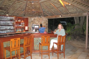 My wife Gail at the Peter Island beach bar