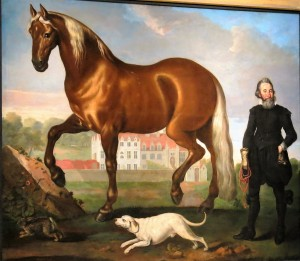 Posh Welbeck ancestor showing off house, horse and hound