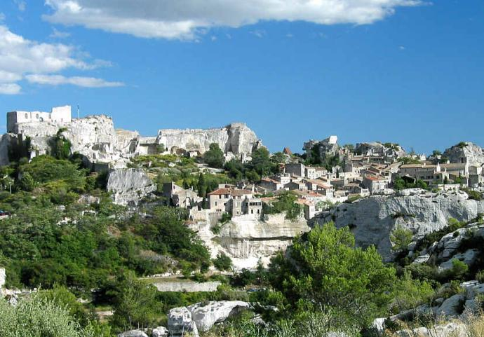 The lunarlike landscape near Les Baux, France