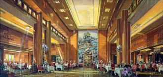 Photo of the first-class dinning room on the Queen Mary